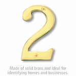 4 Inch Solid Brass Number Brass Finish 2