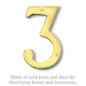 Salsbury 1220-B-3 (4 Inch) Solid Brass Number Brass Finish 3