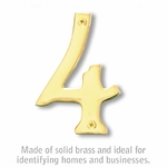 4 Inch Solid Brass Number Brass Finish 4