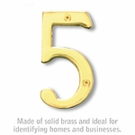 4 Inch Solid Brass Number Brass Finish 5