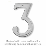 4 Inch Solid Brass Number Chrome Finish 3
