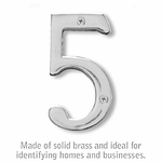 4 Inch Solid Brass Number Chrome Finish 5