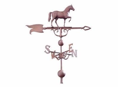 """Whitehall 46"""" Traditional Directions Full-Bodied HORSE Weathervane in Metallic Finish"""