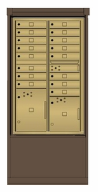 4C mailbox w/ Depot kiosk kit 16 tenant doors, 2 parcel lockers, and 1 outgoing compartment - 4CCT2-16, DEPL2