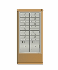 4C mailbox w/ Depot kiosk kit 20 tenant doors, 2 parcel lockers, and 1 outgoing compartment - 4CFT2-20, DEPL2