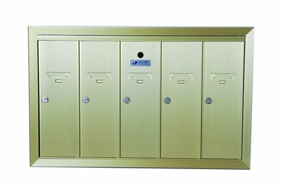 5 Compartment Surface Mount Vertical Mailboxes - Anodized Gold