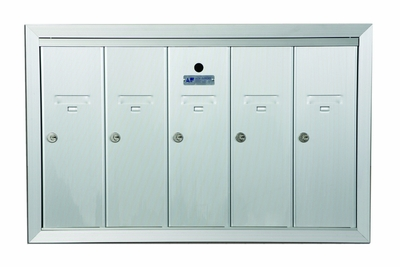 5 Compartment Fully Recessed Vertical Replacement Mailboxes- Anodized Aluminum