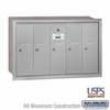 Salsbury 3505ARU 5 Door Vertical Mailbox Aluminum Finish Recessed Mounted USPS Access