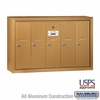 Salsbury 3505BSU 5 Door Vertical Mailbox Brass Finish Surface Mounted USPS Access