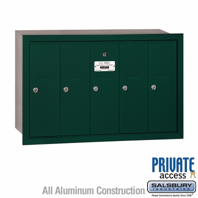 Salsbury 3505GRP 5 Door Vertical Mailbox Green Recessed Mounted Private Access