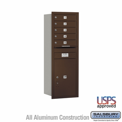 Salsbury 3713S-05ZRU 4C Mailboxes 5 Tenant Doors Rear Loading