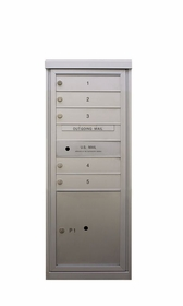 5 Tenant Doors - Front Loading 4C Horizontal Mailbox with 1 Parcel Locker - USPS Approved