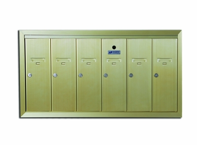 6 Compartment Fully Recessed Vertical Replacement Mailboxes- Gold Powder Coat