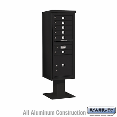 Salsbury 3413S-06BLK Single Column 6 Door 4C Pedestal Mailbox - Black