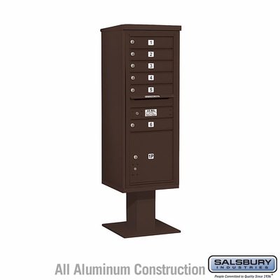 Salsbury 3413S-06BRZ 6 Door 4C Pedestal Mailbox - Bronze with Parcel Locker