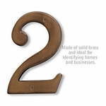 6 Inch Solid Brass Number Antique Finish 2