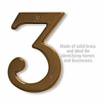 6 Inch Solid Brass Number Antique Finish 3