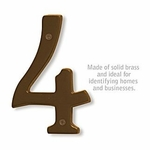 Salsbury 1230A-4 (6 Inch) Solid Brass Number Antique Finish 4
