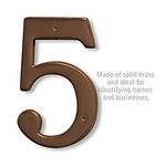 6 Inch Solid Brass Number Antique Finish 5