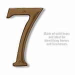 6 Inch Solid Brass Number Antique Finish 7
