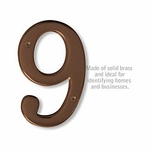 6 Inch Solid Brass Number Antique Finish 9