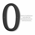 6 Inch Solid Brass Number Black Finish 0