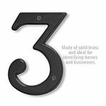 6 Inch Solid Brass Number Black Finish 3