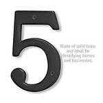 6 Inch Solid Brass Number Black Finish 5