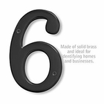 6 Inch Solid Brass Number Black Finish 6