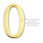 6 Inch Solid Brass Number Brass Finish 0