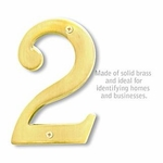 Salsbury 1230B-2 (6 Inch) Solid Brass Number Brass Finish 2