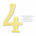 6 Inch Solid Brass Number Brass Finish 4