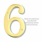 6 Inch Solid Brass Number Brass Finish 6