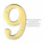 6 Inch Solid Brass Number Brass Finish 9