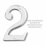 6 Inch Solid Brass Number Chrome Finish 2