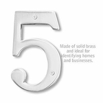 6 Inch Solid Brass Number Chrome Finish 5