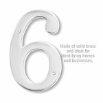 6 Inch Solid Brass Number Chrome Finish 6