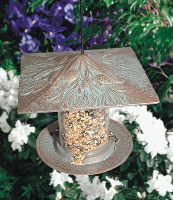 "Whitehall 6"" Pinecone Tube Feeder - Copper Verdi"