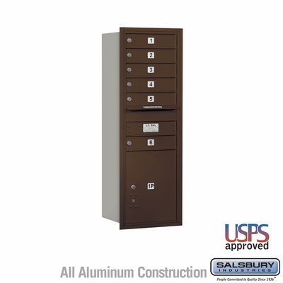 Salsbury 3713S-06ZRU 4C Mailboxes 6 Tenant Doors Rear Loading