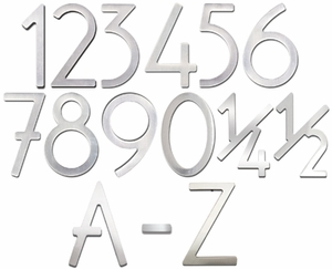 House Numbers and Letters Brushed Raw Stainless Steel Contemporary 8 Inch