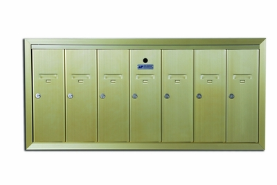 7 Compartment Surface Mount Vertical Mailboxes - Anodized Gold