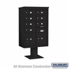 Salsbury 3413D-07BLK 7 Door 4C Pedestal Mailbox Black Double Column with Parcel Locker