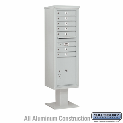Salsbury 3415S-07GRY 7 Door 4C Pedestal Mailbox - Gray - Single Column with Parcel Locker