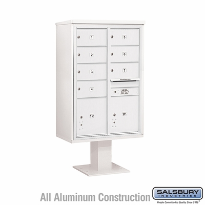 Salsbury 3413D-07WHT 7 Door 4C Pedestal Mailbox White Double Column with Parcel Locker