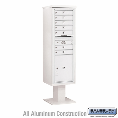 Salsbury 3415S-07WHT 7 Door 4C Pedestal Mailbox White Single Column with Parcel Locker