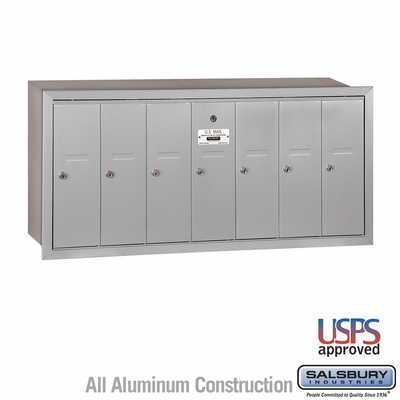 Salsbury 3507ARU 7 Door Vertical Mailbox Aluminum Finish Recessed Mounted USPS Access
