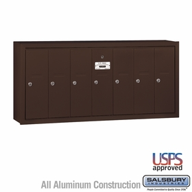 Salsbury 3507ZSU 7 Door Vertical Mailbox Bronze Finish Surface Mounted USPS Access