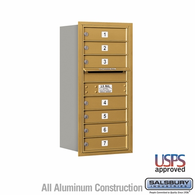 7 Tenant Doors Rear Loading USPS APPROVED 4C Horizontal Mailboxes - Gold