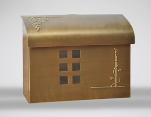 E7 Wall Mount Mailbox - Satin Brass Plated