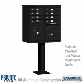 Salsbury 3308BLK-P 8 Door Cluster Mailbox Black - Private Access